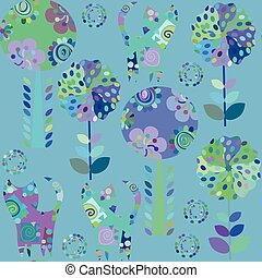 Odd animals  seamless pattern and cute seamless pattern in swatch menu, vector illustration