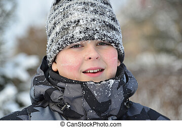 Portrait of frozen boy in winter - A Portrait of frozen boy...