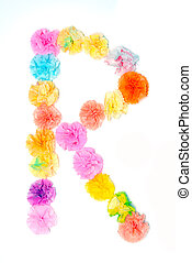 """""""R"""" Alphabet flowers made from paper craftwork - Colorful..."""