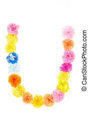 """""""U"""" Alphabet flowers made from paper craftwork - Colorful..."""