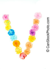 """""""V"""" Alphabet flowers made from paper craftwork - Colorful..."""