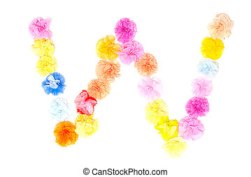 """""""W"""" Alphabet flowers made from paper craftwork - Colorful..."""