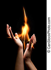 Flaming hands - Open hands catching a mystical burning flame