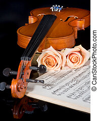 Wedding strings - Sheet music of the Wedding March, with...