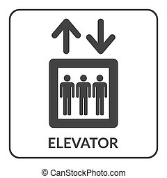 Elevator icon. Lift symbol. Stairs up and down. Gray icon...