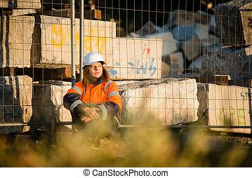 Happy in work - senior woman engineer - Senior woman...