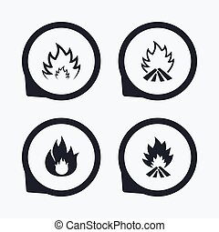 Fire flame icons. Heat signs.