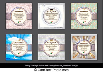 Set of Old Invitation Card with Round Labels.