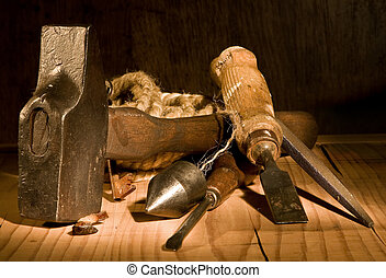 Grungy tools - Grungy still-life of vintage and rusty tools