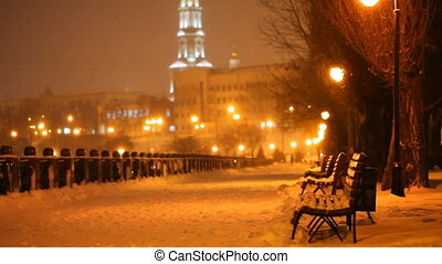 winter evening in city park, falling snow