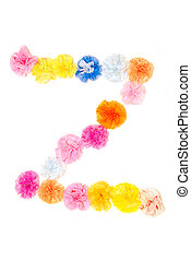 """""""Z"""" Alphabet flowers made from paper craftwork - Colorful..."""