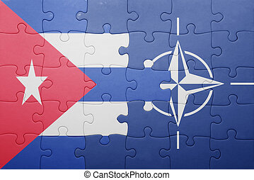puzzle with the national flag of cuba and nato