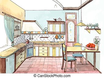 Interior of a kitchen in watercolor