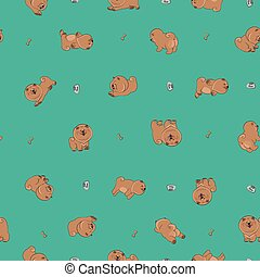 Happy puppies. Vector seamless pattern