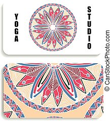 yoga Studio card with the image of a color mandala