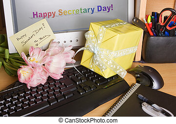 Secretary day on screen - Flowers from the boss on...