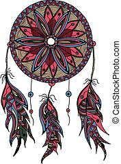 color dream catcher with feathers style zentangle and Doodle...