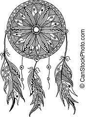 monochrome dream catcher with feathers style zentangle and...