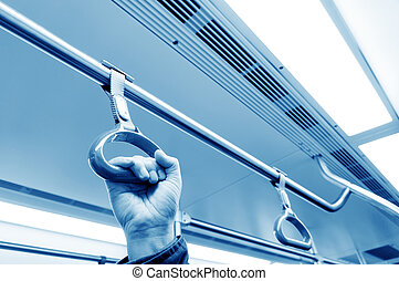 Man's hand inside the subway cars - Man pulled pull ring on...