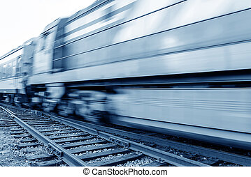 Filled with goods train, high-speed driving. - A high-speed...
