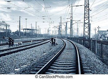 Railway transportation hub, gray tone image - Railway...