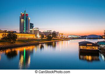 Sunset over central district Nemiga in Minsk, Belarus
