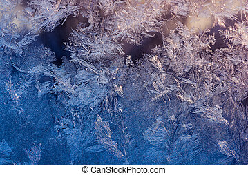 Frost on window - Abstract ice pattern on winter window