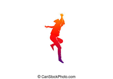 Girl is jumping and hands up in colorful on isolated white...
