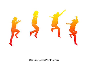 Steps of girl jumping - Four actions of girl jumping in...