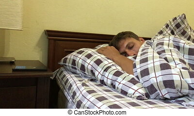 Man Waking Up Mobile Incoming Phone Call - Man Waking Up...