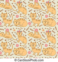 Cute ginger cats seamless pattern