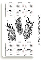 vertical  calendar  of feathers