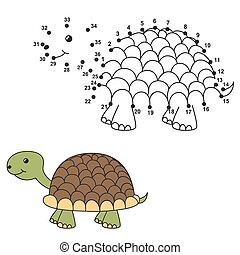 Draw the cute turtle and color it