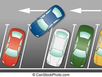 blue car parking