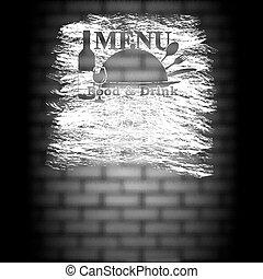 Restaurant menu on the blurry background bricks