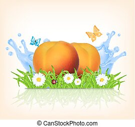 Grass and peach on a background of splashing water Summer...