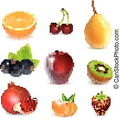 Fresh fruits on white - Fruits Orange, cherry, pear, apple,...