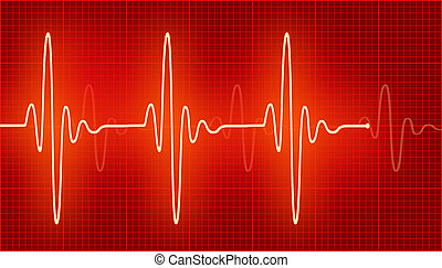 Cardiogram - Bright cardiogram waves on the red.