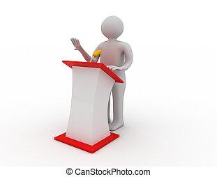 3d people talking behind the speak stage