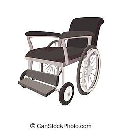 Wheelchair cartoon icon on a white background