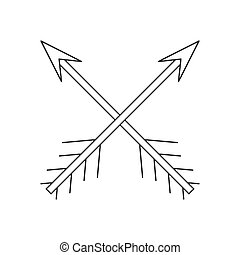 Cross arrows thin line icon on a white background