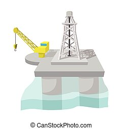 Oil derrick in sea cartoon