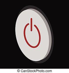 Grey power button cartoon icon Computer button symbol...