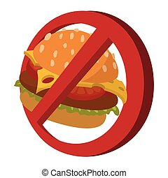 Fast food danger cartoon icon