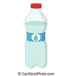 Plastic bottle of water cartoon icon