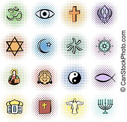 Religion comics icons set isolated on white background