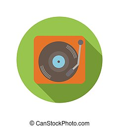 Retro record player flat icon on a white background