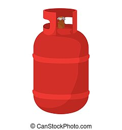 Red gas bottle cartoon icon - Gas bottle cartoon icon Red...
