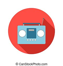Boom box or radio cassette tape player flat icon on a white...
