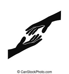 Two arms stretching towards each other icon - Two arms...